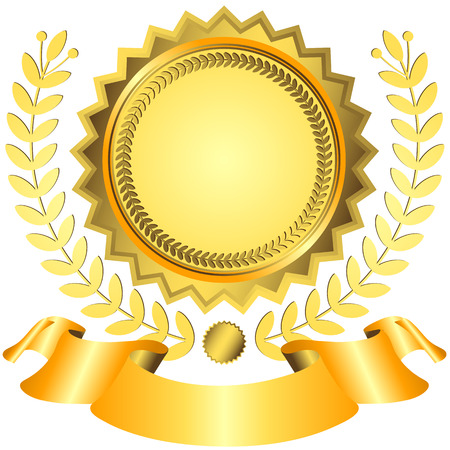 medals: Golden award with ribbon (vector)