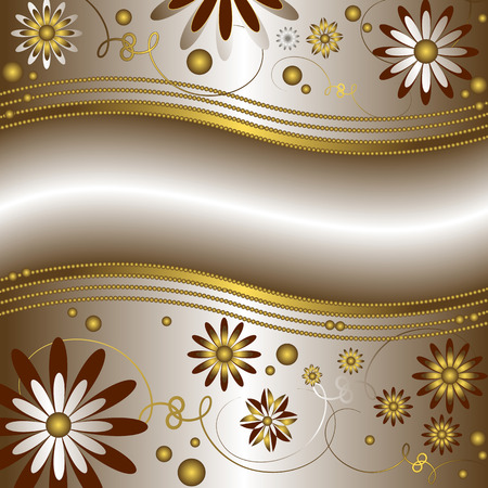 Silvery and golden floral background Stock Vector - 5891878