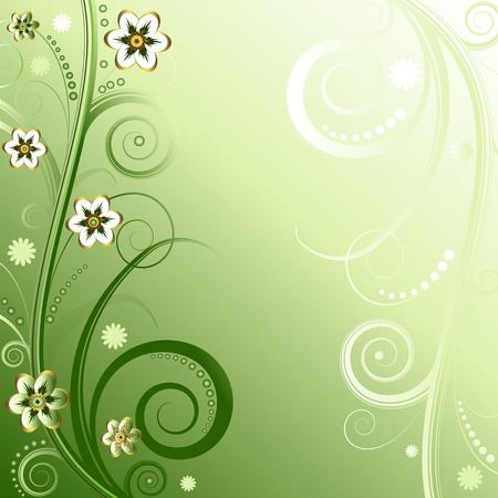 Floral green background (vector) Vector