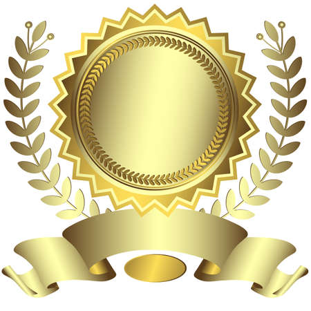 premio cinta: Premio plateado con cinta (vector)
