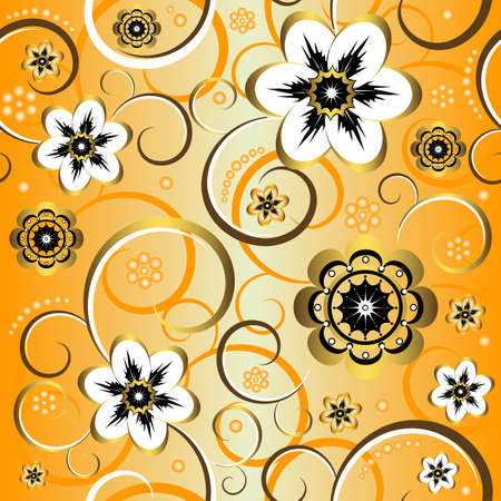 roze: Seamless floral decorative yellow pattern (vector)