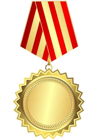 Goldmedaille mit roten und goldenen striped Multifunktionsleiste auf weißen Hintergrund (Vektor)