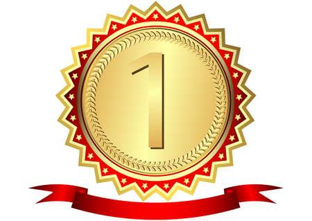 goldmedaille: Goldmedaille mit Sternen und rote Schleife (Vektor) Illustration