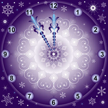 midnight hour: New Years background with clock with snowflakes Illustration