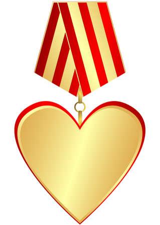 Gold medal-heart Vector