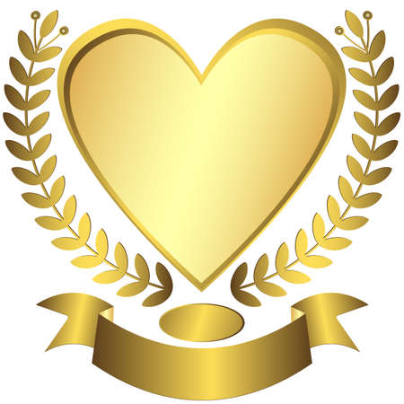 Gold award-heart with ribbon (vector) Stock Vector - 6139371