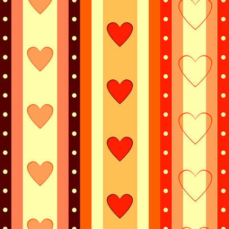 Valentine  striped seamless  background  with hearts  Vector