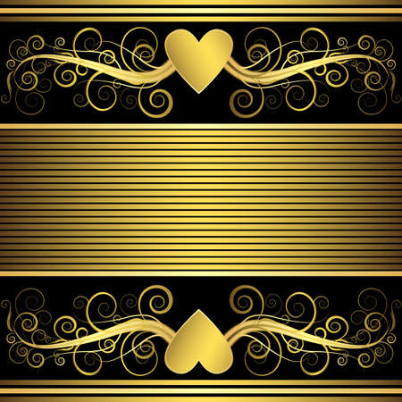 Valentine background with gold heart  Stock Vector - 6157500