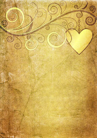 Old yellow-brown valentine paper photo