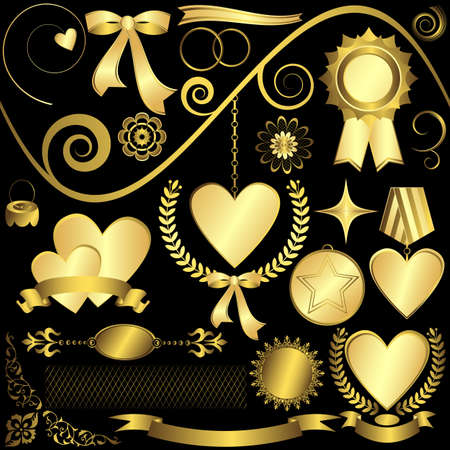 golden laurel wreath: Set golden design elements