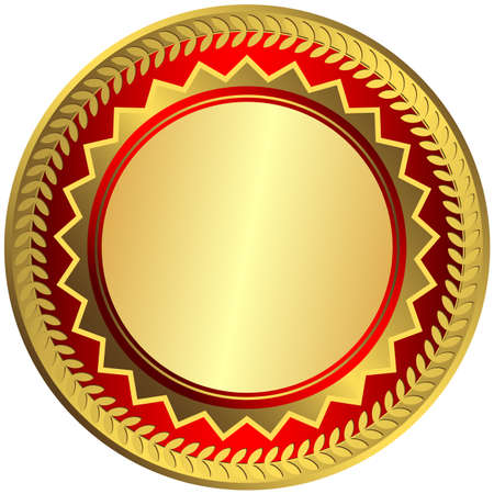 Gold big medal on white background  Vector