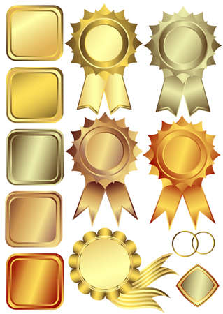 Set gold, silver and bronze design elements  (vector) Vector