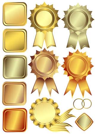 Set gold, silver and bronze design elements  (vector) Vector