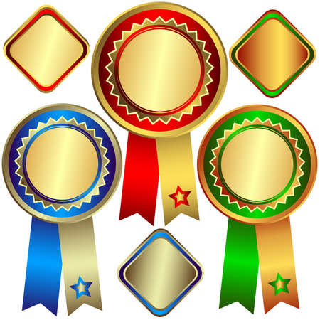 Gold, silver and bronze awards (vector) Vector