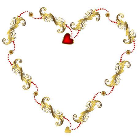 medallion: Gold valentine`s floral frame