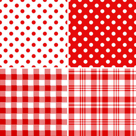 pastel colour: Set classical red-white seamless patterns