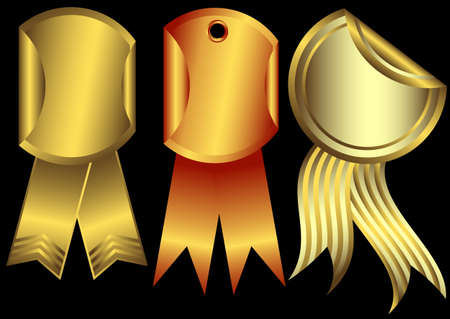 Set metalic awards on a black background  Vector