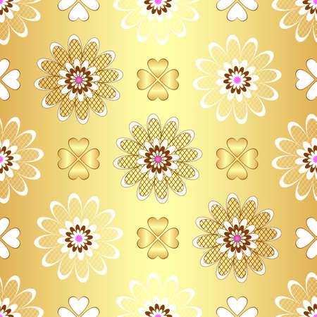 Golden floral seamless pattern Vector