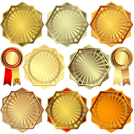 Set gold, silver and bronze awards Vector