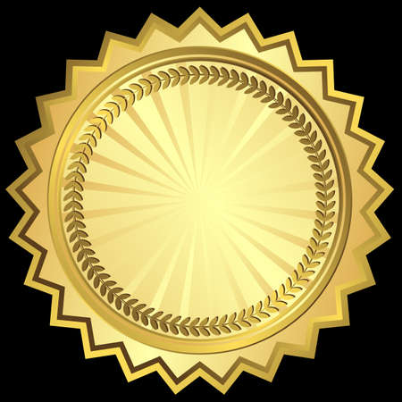 Golden round frame Vector
