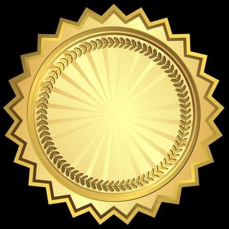 brushed gold: Golden round frame Illustration