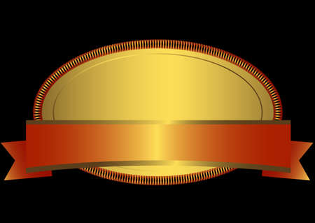 Golden oval frame Vector