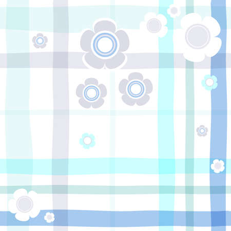 Seamless gentle blue floral cell pattern  Vector