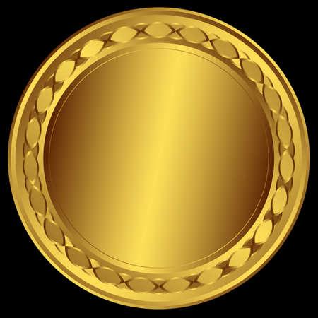 goldmedaille: Große goldene Runde frame  Illustration