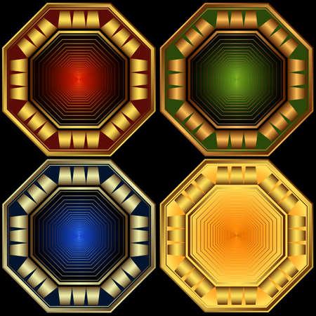 octagonal: Set decorative elegant octagonal frames