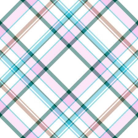 Abstract seamless white-pink-blue tartan pattern  Vector