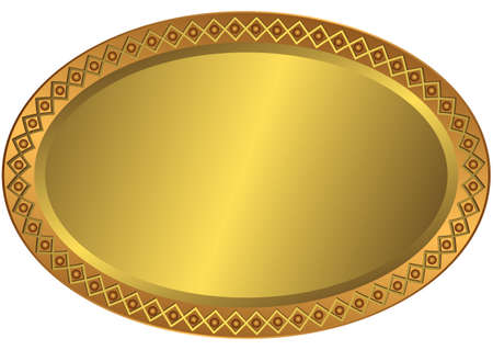 Oval metal volumetric plate with an ornament on edges  Vector