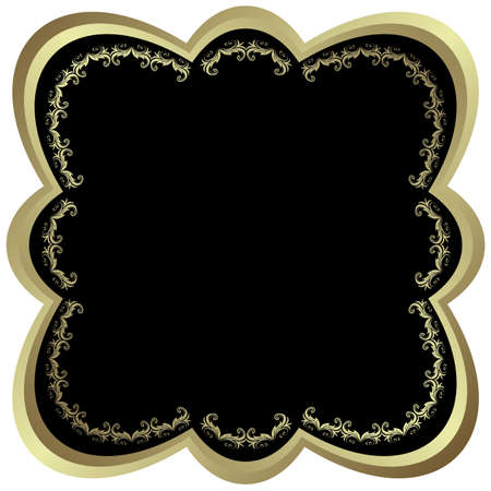 Silvery and black frame with  vintage ornament  Vector