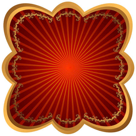 Bronze metallic frame with red rays  Vector