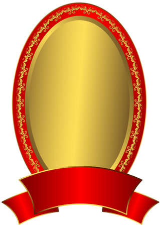 Gold  Easter frame with red ribbon  Vector