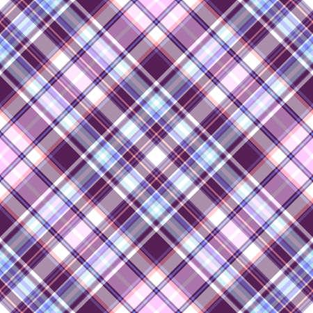 Gentle tartan violet-blue diagonal repeating pattern  Vector