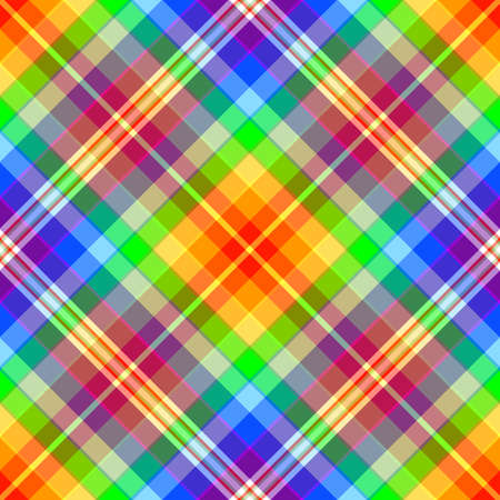 Abstract rainbow diagonal seamless tartan pattern  Vector