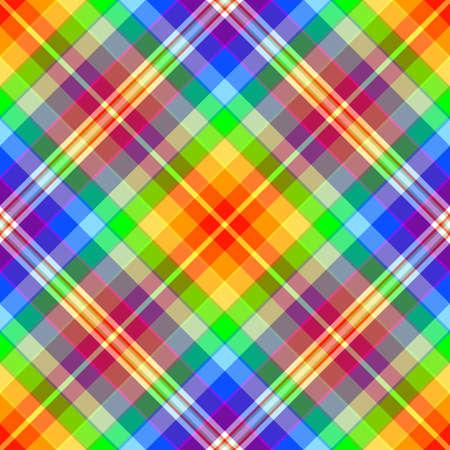 twill: Abstract rainbow diagonal seamless tartan pattern