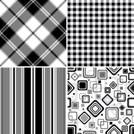 Set black-white seamless patterns Vector