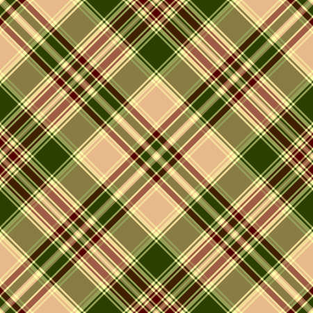 Seamless green and coffee diagonal cross pattern with brown lines Vector
