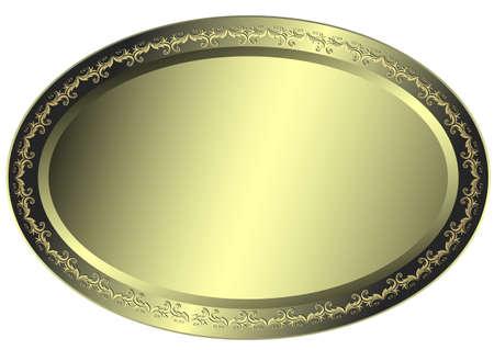 Oval metallic silvery plate Stock Vector - 6490628