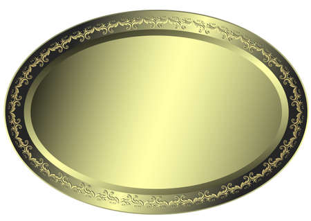 Oval metallic silvery plate Vector