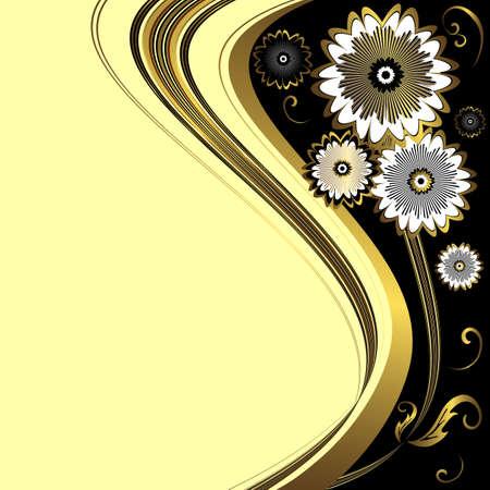 Elegant floral black and golden background (vector) Vector