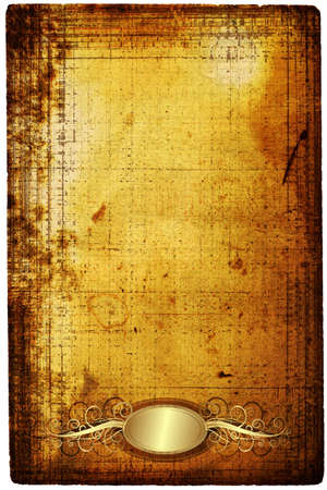 Old paper with elegance golden frame and border. Stylization photo