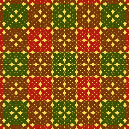 Seamless green-red dark checkered pattern  Vector