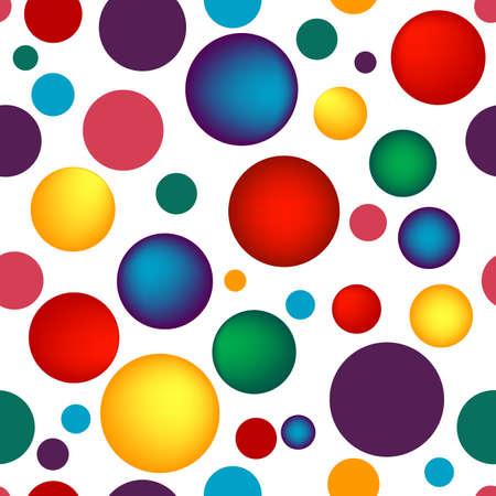Abstract seamless white pattern with vivid colorful  balls  Vector
