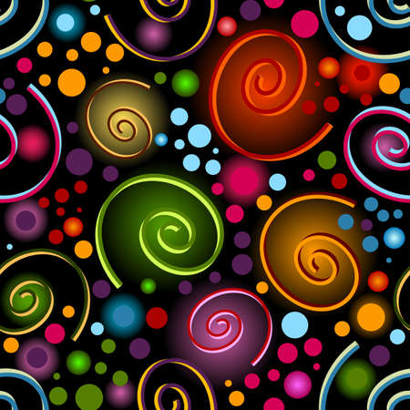 shone: Abstract seamless black pattern with bright shone curls and balls