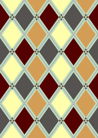 Seamless pattern in brown, white and grey rhombuses Vector