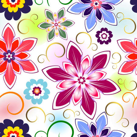 Seamless vivid floral pattern with colorful spots  Stock Vector - 6553727