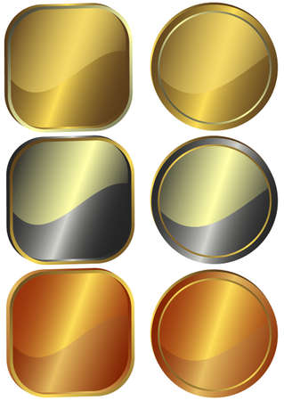 Set of round and square metal counters (vector) Vector