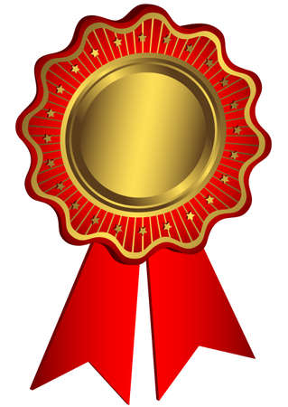 Golden and red award with red ribbons (vector) Vector